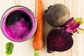 stock photo of juices  - Closeup of Fresh Red Beet Juice close up - JPG
