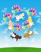 Five Babies Of Different Human Races Flying On Colorful Balloons In The Sky