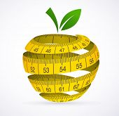 stock photo of breakfast  - Apple and measuring tape - JPG