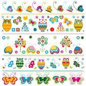 birds, butterflies, flowers etc borders, cute  colorful elements