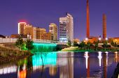 Skyline of Birmingham, Alabama at railroad park.