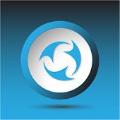 Abstract recycle symbol. Plastic button. Vector illustration.