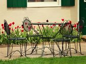 Vintage Iron Garden Table And  Chairs