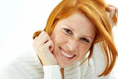 picture of red hair  - Photo of funny young girl with red hair and freckled skin on her face - JPG