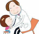 Friendly child doctor examine small girl. Doctor in white uniform. Vector illustration.