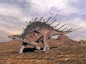 Kentrosaurus Dinosaur In The Desert - 3D Render