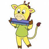 Cartoon Giraffe Mundharmonika spielt
