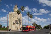 Sevilla, España - 16 de mayo: A City Sightseeing tour bus en la Torre de Oro sobre el 16 de mayo de 2013 en Sevilla,