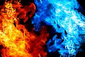 picture of fire  - Red and blue fire on balck background - JPG