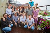 MOSCOW - AUG 7: Group portrait of graduates of Summer School of screenwriting skills after Graduatio