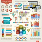 stock photo of graph  - A set of vector elements of infographics - JPG