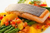 Salmon Steak with Fruits, Vegetables, Asparagus and Lemon