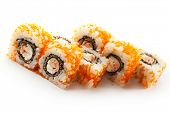 Japanese Cuisine - Sushi Roll with Deep Fried Salmon, Cucumber and Philadelphia Cheese insisde. Tobi