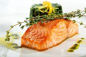 picture of salmon steak  - Baked Salmon Steak with Spinach and Lemon Slice - JPG