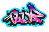 Graffiti vector art urban design element. Club