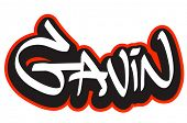 Gavin graffiti font style name. Hip-hop design template for t-shirt, sticker or badge