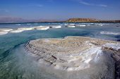 image of crystal salt  - islands of salt on Dead Sea and mountain Sdom - JPG