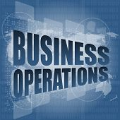 Business Operations Word auf Digital Touchscreen