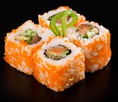 picture of masago  - California Maki Sushi with Masago on black - JPG
