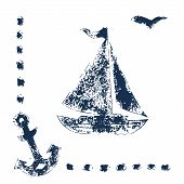 Grunge blue stamp print sailboat, anchor and seagull on white background, vector illustration