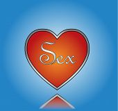 foto of libido  - Love Sex Illustration with Red Heart and Sex Text with blue gradient background - JPG