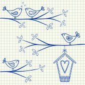 Birds On A Tree Drawing