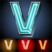 Vector illustration of realistic neon tube alphabet for light board. Gold and Silver and Red options. Letter V