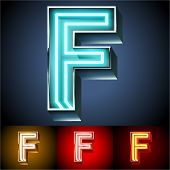 Vector illustration of realistic neon tube alphabet for light board. Gold and Silver and Red options. Letter F