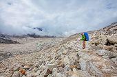 Hiking In Khumbu Walley In Himalayas Mountains