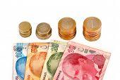 Turkish lira banknotes and coin