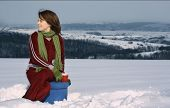 Girl Having Tea In Winter