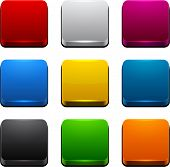 Set of blank colorful 3d square buttons for website or app. Vector eps10.