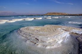 image of crystal salt  - islands of salt on Dead Sea and mountain Sdom - JPG