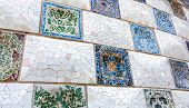 Ceramic mosaic Park Guell in Barcelona, Spain. Park Guell is the famous architectural town art desig