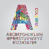 Colorful Overlap Line Alphabet And Numbers Vector