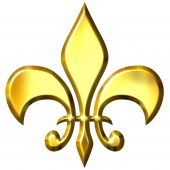 stock photo of fleur de lis  - 3d golden fleur de lis isolated in white - JPG
