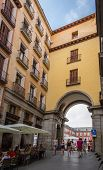 Archway entrance to Plaza Mayor of Madrid, Spain