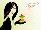 pic of pongal  - Illustration of a beautiful woman on occasion of Happy Pongal - JPG