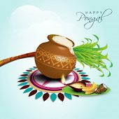 Happy Pongal, harvest festival celebration in South India with pongal rice in a traditional mud pot, sugarcane on beautiful floral (rangoli)  on nature background.