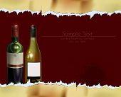 ripped paper background with bottles of wine