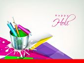 Indian festival Happy Holi celebration concept with buckets with full of colors and pichkari on abst
