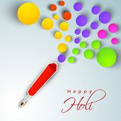 Creative artwork  for Indian festival Happy Holi celebration with colors in circle paper shape comin