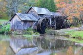 picture of blacksmith shop  - Mabry Mill in Autumn colors  - JPG