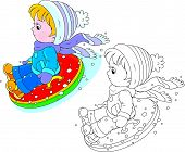 picture of inflatable slide  - Little boy or girl sitting in an inflatable snow tube and sliding down - JPG
