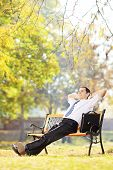 Young businessman seated on a wooden bench relaxing in a park