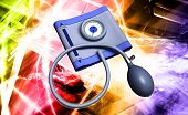picture of sphygmomanometer  - Digital illustration of sphygmomanometer in colour background - JPG
