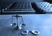 image of courtroom  - Symbol of law and justice in the empty courtroom law and justice concept BLUE TONE - JPG