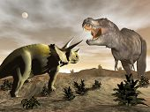 stock photo of prehistoric animal  - One tyrannosaurus roaring at triceratops dinosaur in desertic landscape by night - JPG
