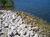 Rocky shoreline at the lake