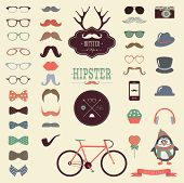foto of mustache  - Hipster Colorful Retro Vintage Vector Icon Set - JPG